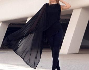 Black Tunic tops, Tunic Cloak, Tunics for Women, Asymmetrical Tunic, Tunic Tops for Women, Tunic Dress, Black Tunic, Large Tunic, Markiiza