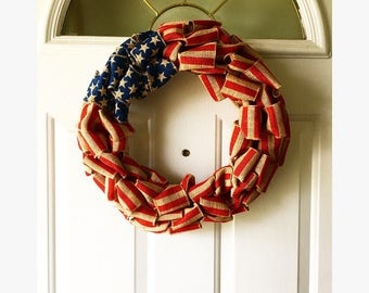 American Flag wreath, Fourth of July decor, front door wreath, burlap wreath, flag wreath,patriotic wreath, 4th of july wreath
