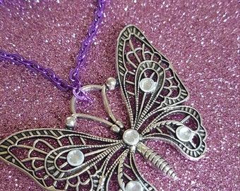 Ornate Butterfly Pendant with Chain  Stocking Filler Mothers Day