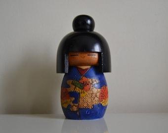 Vintage Kokeshi. Japanese doll. Wooden doll. Signed by Kazuo Takamizawa.