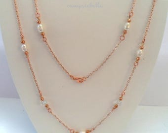 """Rose Gold Rice Pearl Necklace- 24"""" long- Freshwater Pearls Quartz crystals- Rose Gold Jewellery- Pearl Necklace- Made in UK- by campsiebelle"""