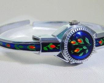 Exquisite Hudson De Luxe 17 jewel silver blue enamel bangle watch FREE UK P&P