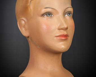 "13"" Exquisite Vintage Advertising Plaster Girl Bust Shop Window Lady Head 1"