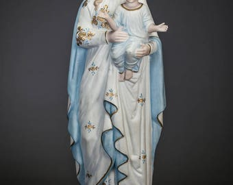 "17"" Beautiful Madonna w Child Jesus Bisque Porcelain Statue Christ Virgin Mary"