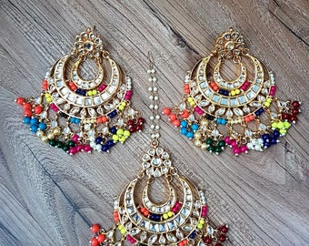 Long Phulkari (2) kundan chandbali earrings and mangtikka teeka tika with red meenakari work and multi colour beads.