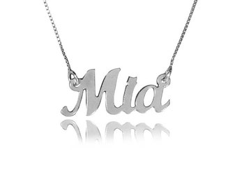 Delicate name necklace sterling silver name necklace Mia name necklace any name necklace cursive name necklace