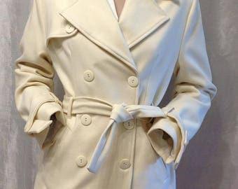 SALE,Vintage 90s Double Breasted Coat Short ivory Wool big collar with Belt Jacket cream white Wedding Blazer Winter Coat,size M/L