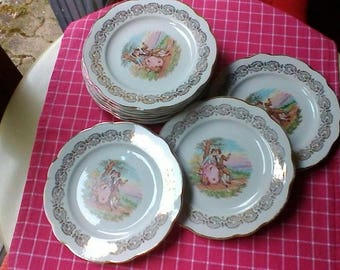 Set of 11 Tea Plates - Vintage French Opalor tea or dessert plates