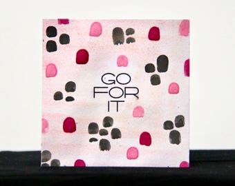 Go For It - 3x3 Original Mini Watercolor Painting