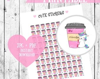 Unicorn digital stickers, Coffee stickers, printable stickers, unicorn planner stickers, coffee planner stickers