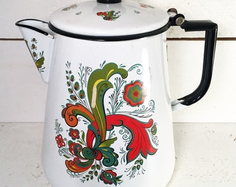 Farmhouse Kitchen Berggren Rosemaling Floral Enamelware Coffee Pot or Kettle/Shabby Chic Multicolored Enamelware Berggren Floral Vintage Pot