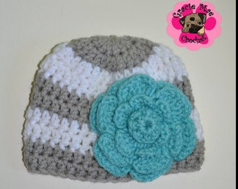 Gorgeous grey and white with turquoise flower embellishment, 0-3 months crochet newborn hat