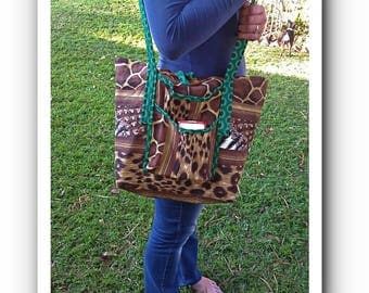 Animal Print Tote bag with Green Shweshwe accents