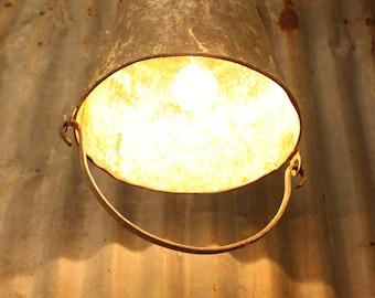 Hanging Galvanized Bucket Light, Industrial Light, Rustic