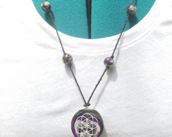 Seed of life flower of life handmade clay glow in the dark necklace