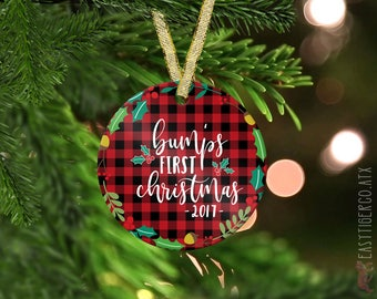 Custom Bump's First Christmas Glass Ornament | Christmas Name Ornament  | Holiday Gift | Couples Gift | Newborn | Pregnancy | Expecting Gift