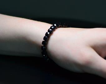 Black Spinel Bracelet, Black Stone Bracelet, Knotted Bracelet, Sterling Silver 925 Bracelet, Birthday gift, Beads Bracelet, Gift for Her