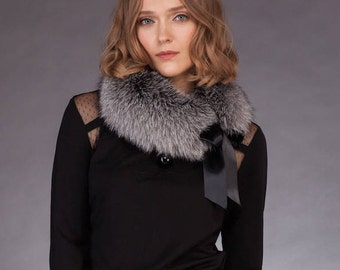 Handmade Real Silver Fox Fur Shoulder Scarf With Ribbon / Collar / Neck Wrap