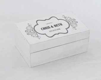 Personalized wedding box, Wedding ring box, White Ring Bearer Box, Custom ring box, Ring pillow, Ring Box White Ring Holder