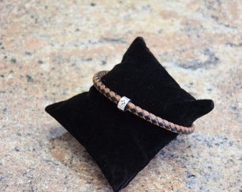 Real leather men's bracelet Black Brown antiqued silver Pearl diamonds