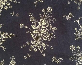 Civil War Reproduction Fabric, Civil War Dress Fabric, Navy Blue Flower Print, 1865-1875, Windham Fabrics, Nancy Gere, Victorian Print