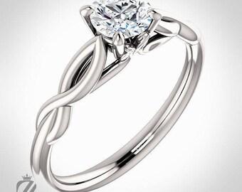 Platinum Solitaire Diamond Engagement Ring Wedding Ring Bridal Ring