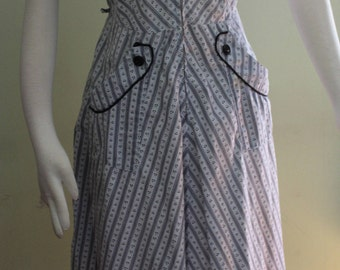 "M/L ,Chevron striped cotton day dress, vintage 1950's, 34"" waist"