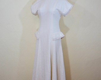 1940's ivory embossed cotton dress