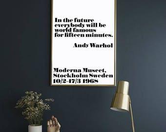 Andy Warhol, Quotes Prints for Wall, Andy Warhol Print, Andy Warhol Poster, Instant Download Printable, Fashion Print, Printable Wall Art