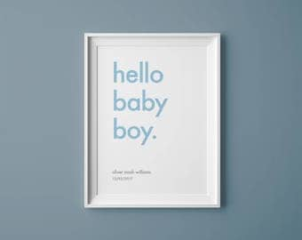 Personalised baby boy print // hello baby boy. // Custom colours // new baby gift