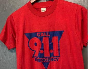 S vintage 80s Call 911 Emergency Screen Stars t shirt