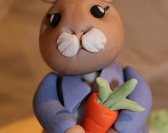 Hand Crafted Edible Peter Rabbit birthday/Christening cake topper with extras