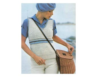 Crochet Pattern - Simple Tank Top, Striped with V-Neck, Lightweight, womans Vest
