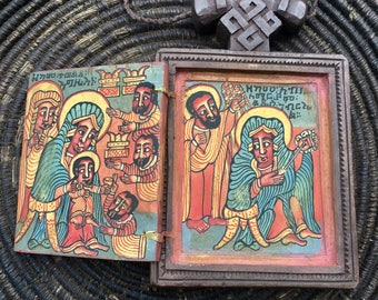 Ethiopian handcarved Icon with four beautiful paintings