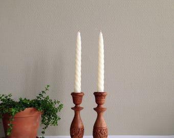 Vintage Hand Carved wooden candlestick