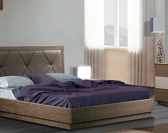 Modern style bedroom set with double bed, nightstands, dresser and mirror