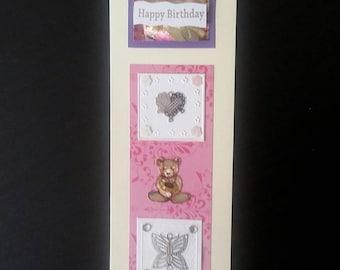 Tall birthday greeting card blank inside