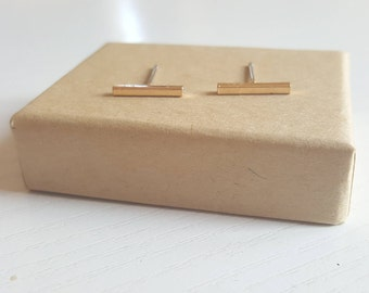 Gold Bar Earrings, Silver Bar Earrings, Dainty Bar Earrings, Gold Stud Earrings, Silver Studs, Simple Gold Earrings, Gold Minimal Earrings