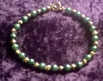 Teal Pearl and Roses hand crafted
