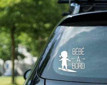 "Sticker "" Bébé à bord "" surfing, surfing girl, vinyl on decal paper, car decal kid surfing"