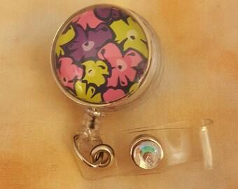 Flat Floral Button Badge Reels, Retractable Badge Reels