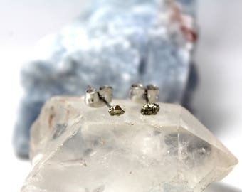 Small Pyrite Stud Earrings with Brass Posting