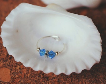 Blue Swarovski Crystal Nose Ring