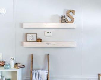 white floating shelf off white stained shelf all wood bracket included for