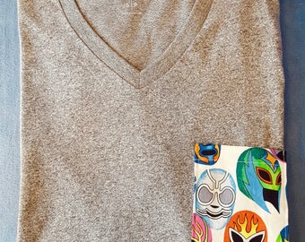 Luchador mask t-shirt, soft-washed, v-neck, Small (US)