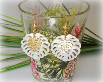 Earrings Pearl natural tropical Leaf Philodendron de clip Pearl silver925 gold charm Golden Philodendron leaf