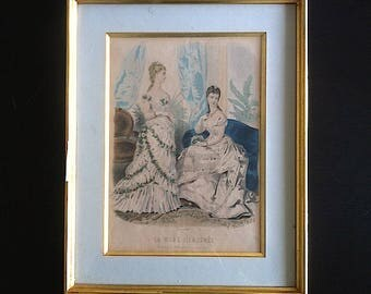"""""""Fashion illustrated"""" old fashion engraving from the 19th century"""