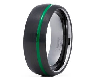 Green Tungsten Wedding Band Gunmetal Tungsten Ring Black Tungsten Band Men & Women Tungsten Carbide Ring Anniversary Band
