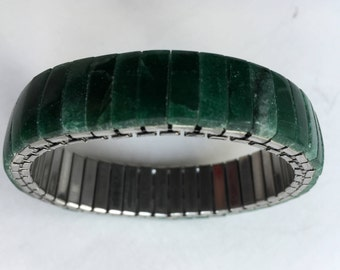 Vintage Green Aventurine Stretch Band Bracelet