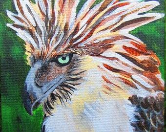 Philippine Eagle Acrylic Mini Painting- Conservation Art